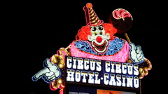 Light sign circus hotel casino, las vegas, nevada Stock Footage