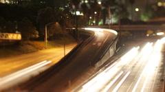 Traffic freeway downtown los angeles LA night Stock Footage