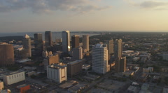 Aerial Downtown Sunset Stock Footage