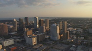 Stock Video Footage of Aerial Downtown Sunset