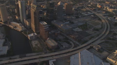 Aerial Downtown Sunset Vertical Stock Footage