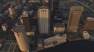 Aerial Downtown Sunset Vertical 4 Stock Footage