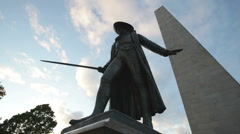 Bunker hill monument statue close Stock Footage