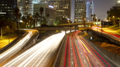 LA timelapse traffic freeway los angeles at night Stock Footage