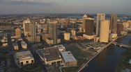 Stock Video Footage of Aerial Downtown Sunset 2