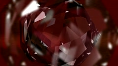HD 3D Abstract Red Crystal Loop Stock Footage
