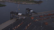 Stock Video Footage of Aerial Container Cranes Dusk