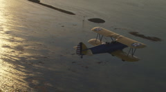 Aerial Bi-plane Sunset Northbound 2 Stock Footage