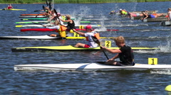 Stock Video Footage of Kayak race start