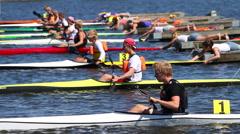 False start, kayake race Stock Footage