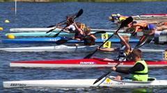 Kayak racing, false start Stock Footage
