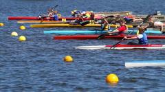 Kayak race start Stock Footage
