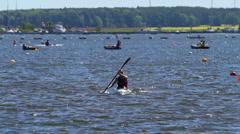 Kayak racing finish Stock Footage