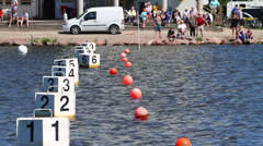 Kayak race finish Stock Footage