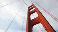 Pan Down to Golden Gate Bridge Traffic in San Francisco, California Stock Footage