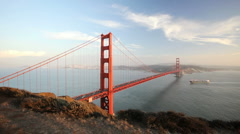 Golden Gate Bridge in San Francisco Bay as Ship Passes Underneath Stock Footage
