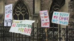 Slutwalk placards Stock Footage