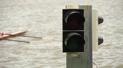Start signal at a rowing regatta Stock Footage