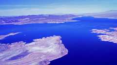 Beautiful Blue Lake Mead. Helicopter view Stock Footage