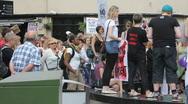 Slutwalk pan speech to crowd Stock Footage