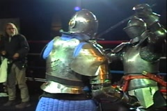 Knights Fight in slowmotion with Armor and Swords Stock Footage