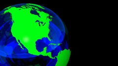3D Looping Crystal Globe, Green Blue. Alpha Channel Stock Footage