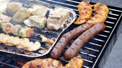 Food on barbecue grill Stock Footage