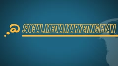 Social Media Marketing Plan video illustration on blue in HD - stock footage