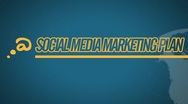 Social Media Marketing Plan video illustration on blue in HD Stock Footage