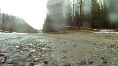 Motorsports, rally car low angle through frame danger close! #12 Subaru STI Stock Footage
