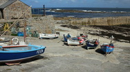 Stock Video Footage of Fishing boats in the harbour at Sennen Cove Cornwall