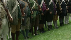 Revolutionary War Reenactment - American Army lined up Stock Footage