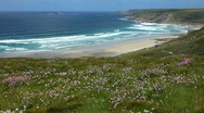 Stock Video Footage of Wide sandy beach at Sennen Cove Cornwall