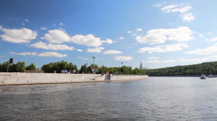 Travel along river bank in Moscow Stock Footage