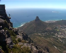 Cable Car and Lions Head from Table Mt, Cape Town GFSD Stock Footage