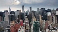 Millenium sunrise manhattan skyline new york Stock Footage