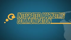 Integrated Marketing Communication video illustration on blue in HD Stock Footage