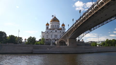Travel along Cathedral of Christ the Saviour in Moscow Stock Footage