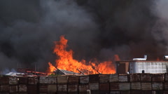 Oxnard storage fire handheld Stock Footage
