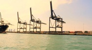 Stock Video Footage of Port of Miami, Container Ship