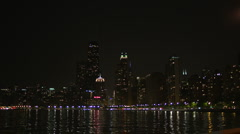 Urban Skyline Chicago at Night Stock Footage