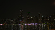 Stock Video Footage of Urban Skyline Chicago at Night