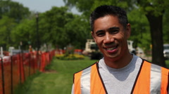 Construction worker, smiling and looking at camera Stock Footage
