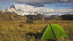 Camping in front of Fitz Roy Stock Footage