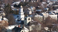 Small New England Town on Coast Stock Footage
