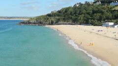 Porthminster beach in St. Ives, Cornwall UK. - stock footage