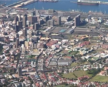 City Bowl zoom out from Table Mountain, Cape Town GFSD Stock Footage