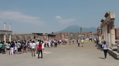 Pompei Mount Vesuvius tourists P HD 0648 Stock Footage
