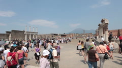 Pompei tourist crowd fast TL P HD 6447 Stock Footage