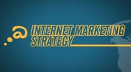 Internet Marketing Strategy video illustration on blue in HD Stock Footage
